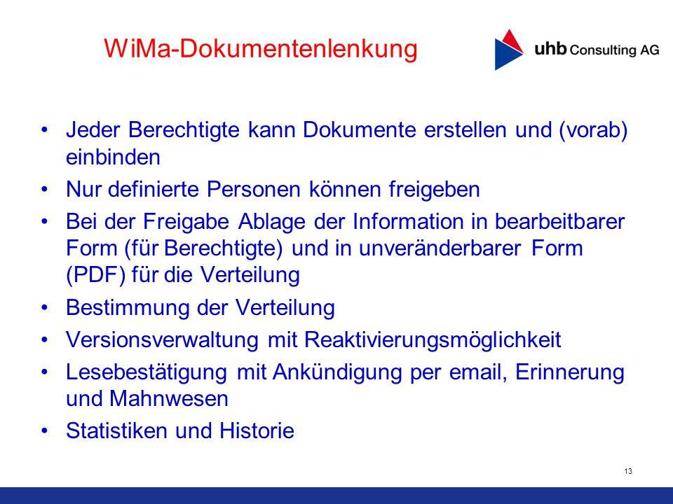 13 WiMa-Dokumentenlenkung Jeder Berechtigte kann Dokumente erstellen und (vorab) einbinden Nur definierte Personen können freigeben Bei der Freigabe A