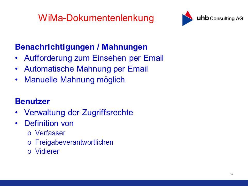 15 WiMa-Dokumentenlenkung Benachrichtigungen / Mahnungen Aufforderung zum Einsehen per Email Automatische Mahnung per Email Manuelle Mahnung möglich B