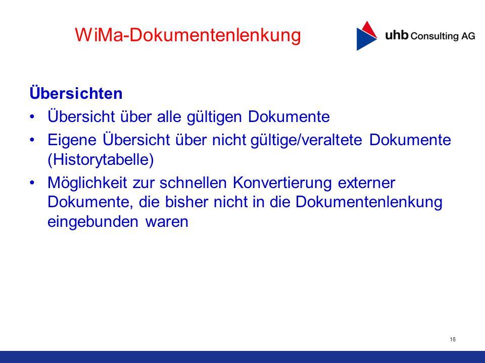 16 WiMa-Dokumentenlenkung Übersichten Übersicht über alle gültigen Dokumente Eigene Übersicht über nicht gültige/veraltete Dokumente (Historytabelle)