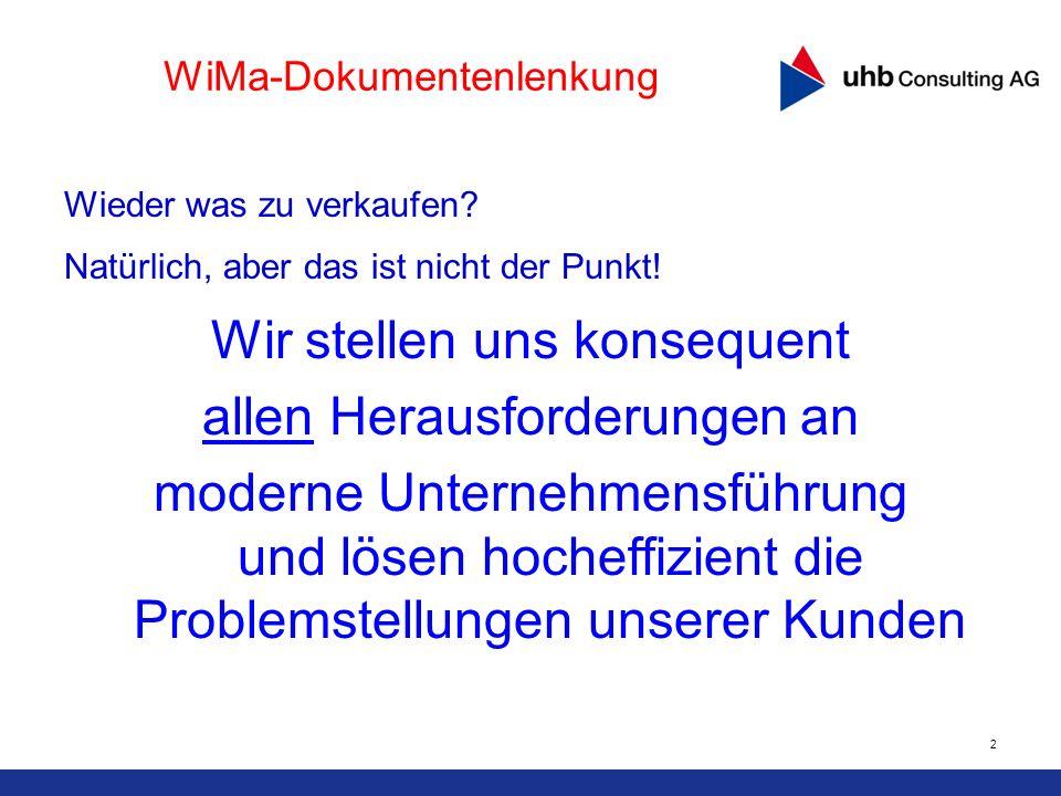 2 WiMa-Dokumentenlenkung Wieder was zu verkaufen? Natürlich, aber das ist nicht der Punkt! Wir stellen uns konsequent allen Herausforderungen an moder