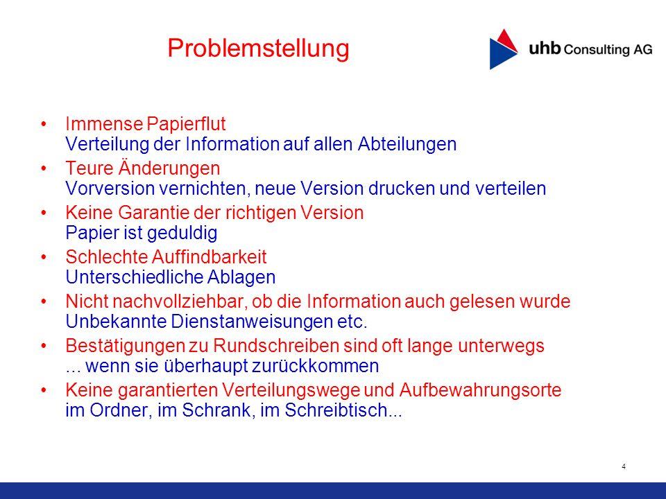 4 Problemstellung Immense Papierflut Verteilung der Information auf allen Abteilungen Teure Änderungen Vorversion vernichten, neue Version drucken und