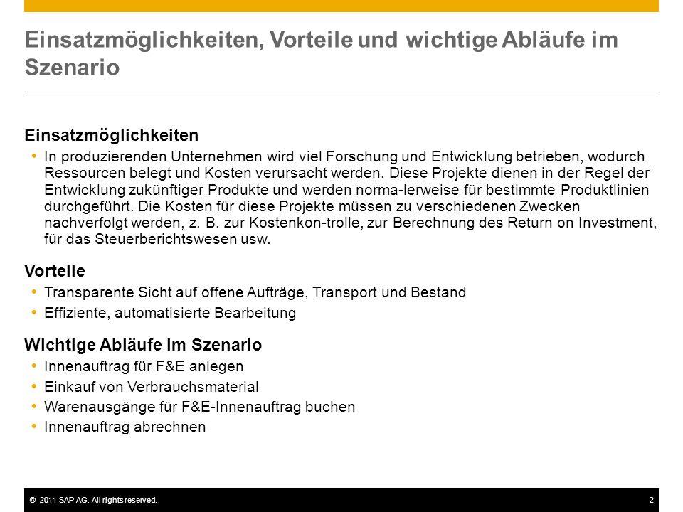 ©2011 SAP AG. All rights reserved.2 Einsatzmöglichkeiten, Vorteile und wichtige Abläufe im Szenario Einsatzmöglichkeiten In produzierenden Unternehmen