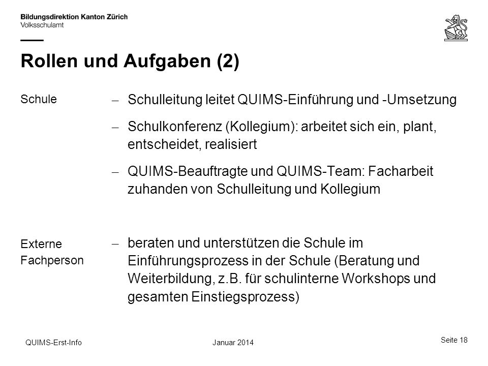 Rollen und Aufgaben (2) Schule Externe Fachperson – Schulleitung leitet QUIMS-Einführung und -Umsetzung – Schulkonferenz (Kollegium): arbeitet sich ei