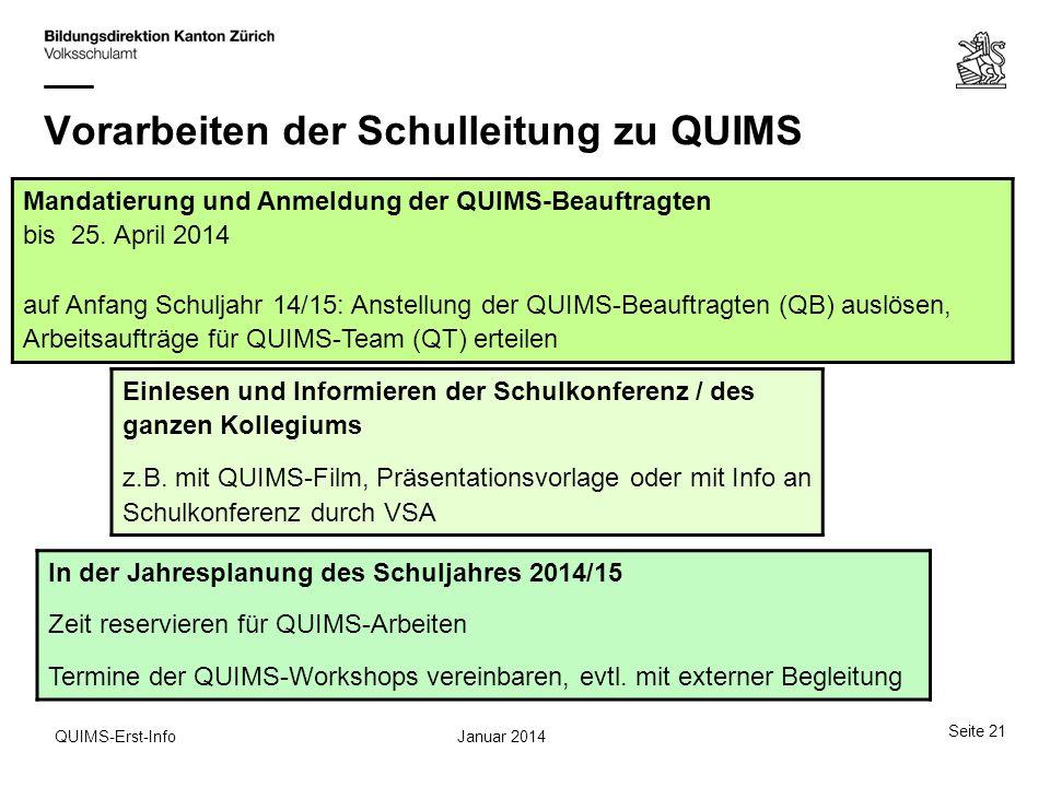 Januar 2014QUIMS-Erst-Info Vorarbeiten der Schulleitung zu QUIMS Mandatierung und Anmeldung der QUIMS-Beauftragten bis 25. April 2014 auf Anfang Schul