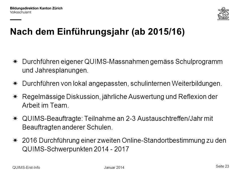 Januar 2014QUIMS-Erst-Info Nach dem Einführungsjahr (ab 2015/16) Durchführen eigener QUIMS-Massnahmen gemäss Schulprogramm und Jahresplanungen. Durchf