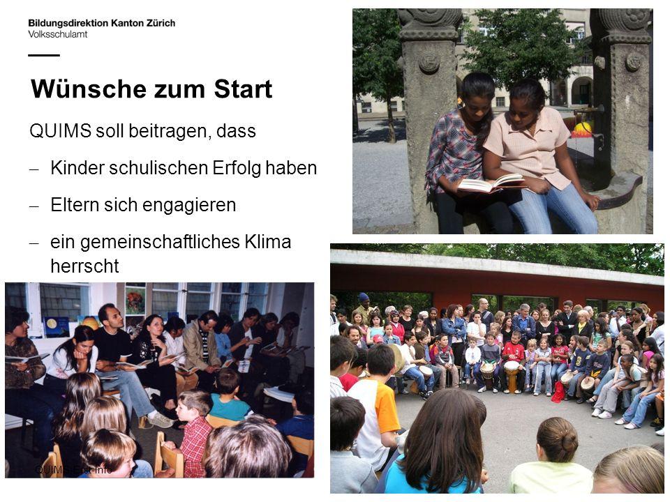 Wünsche zum Start QUIMS soll beitragen, dass – Kinder schulischen Erfolg haben – Eltern sich engagieren – ein gemeinschaftliches Klima herrscht QUIMS-
