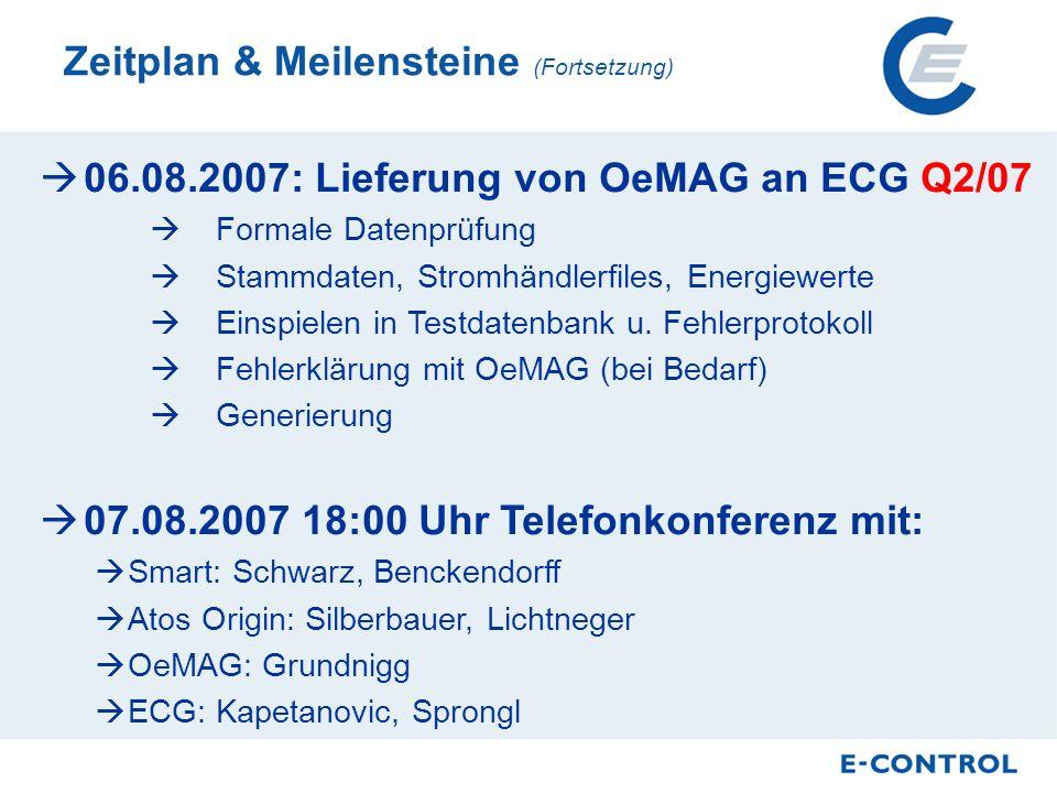 06.08.2007: Lieferung von OeMAG an ECG Q2/07 Formale Datenprüfung Stammdaten, Stromhändlerfiles, Energiewerte Einspielen in Testdatenbank u.
