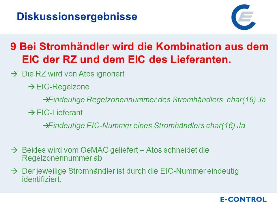 Diskussionsergebnisse 9 Bei Stromhändler wird die Kombination aus dem EIC der RZ und dem EIC des Lieferanten.