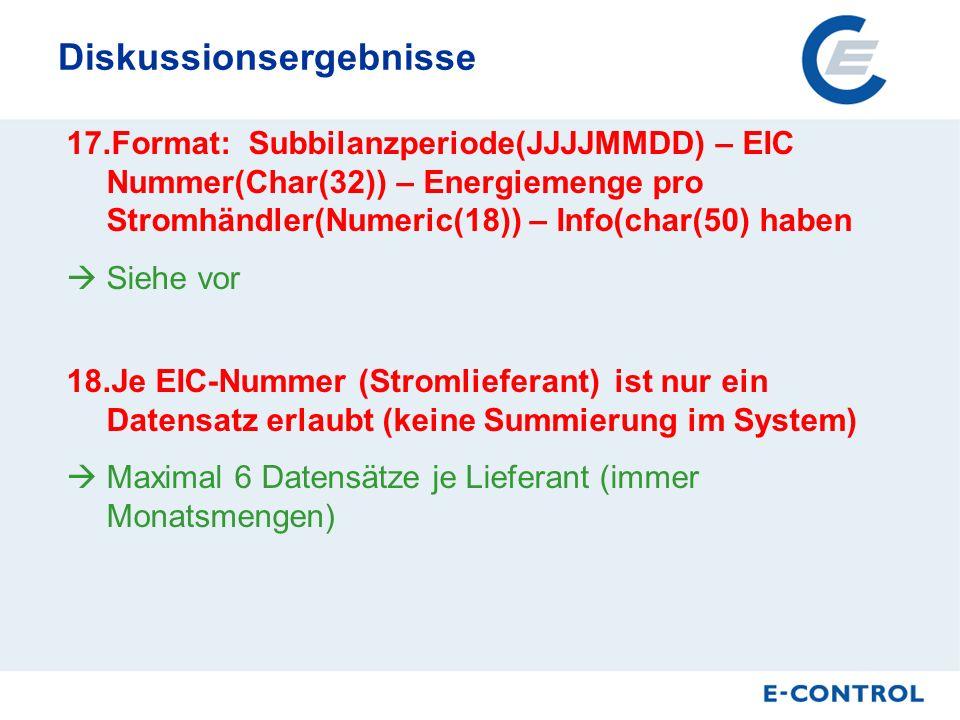Diskussionsergebnisse 17.Format: Subbilanzperiode(JJJJMMDD) – EIC Nummer(Char(32)) – Energiemenge pro Stromhändler(Numeric(18)) – Info(char(50) haben Siehe vor 18.Je EIC-Nummer (Stromlieferant) ist nur ein Datensatz erlaubt (keine Summierung im System) Maximal 6 Datensätze je Lieferant (immer Monatsmengen)