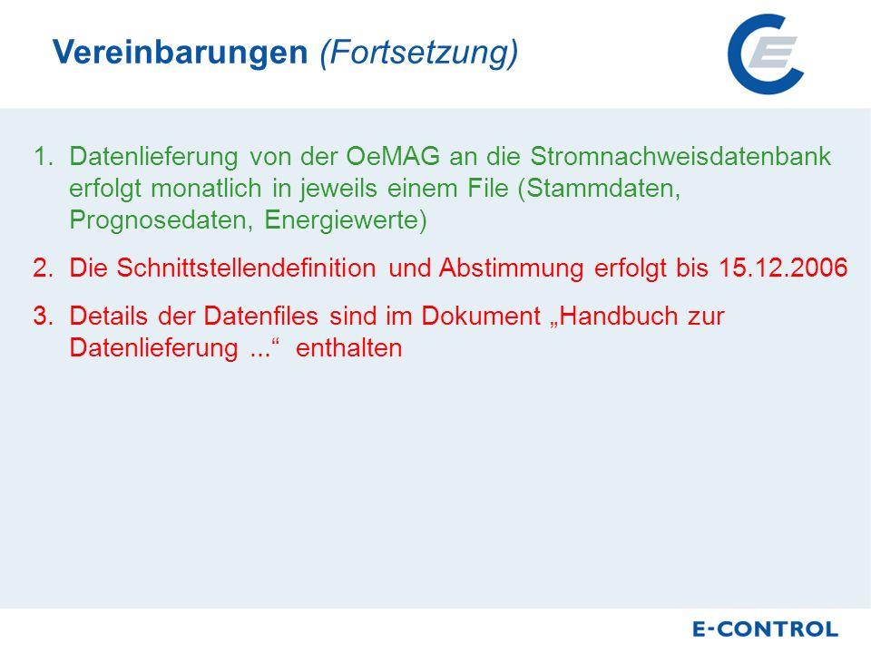 4.Bekanntgabe von Monatsmengen auch für Anlagen mit Jahresablesung durch OeMAG 5.Daten werden monatlich lt.