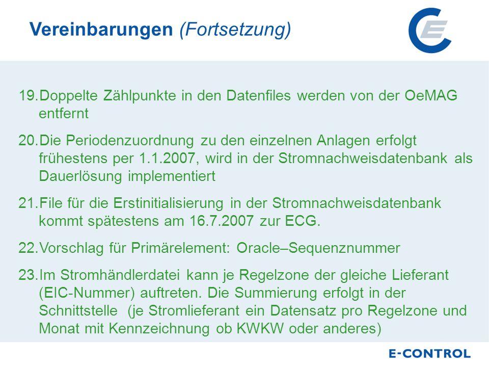 19.Doppelte Zählpunkte in den Datenfiles werden von der OeMAG entfernt 20.Die Periodenzuordnung zu den einzelnen Anlagen erfolgt frühestens per 1.1.2007, wird in der Stromnachweisdatenbank als Dauerlösung implementiert 21.File für die Erstinitialisierung in der Stromnachweisdatenbank kommt spätestens am 16.7.2007 zur ECG.