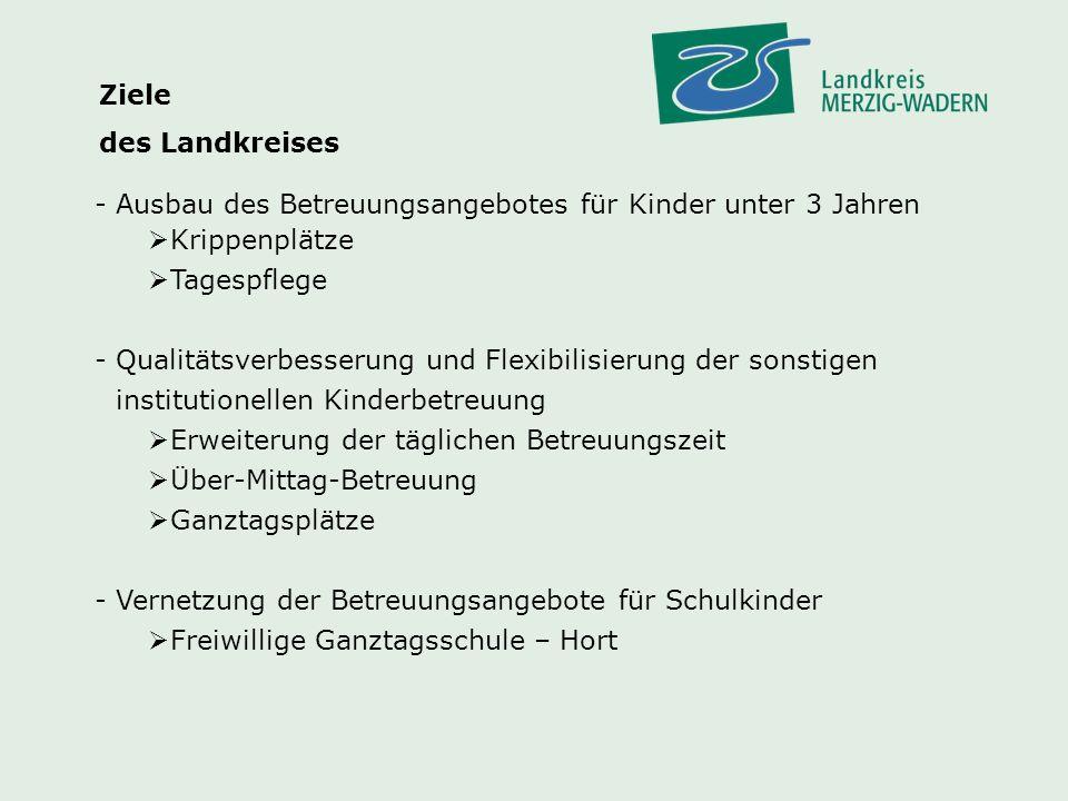 Betreuungsinfrastruktur im Landkreis Merzig-Wadern Für Kinder im Alter von 3 – 6 Jahren 3.443 Kindergartenplätze davon sind 1.474 Ganztagsplätze Für Kinder im Alter von 0 – 3 Jahren Bedarf 800 Betreuungsplätze (200 Tagespflege / 600 Krippenplätze) 373 Krippenplätze (Stand 30.06.2010)