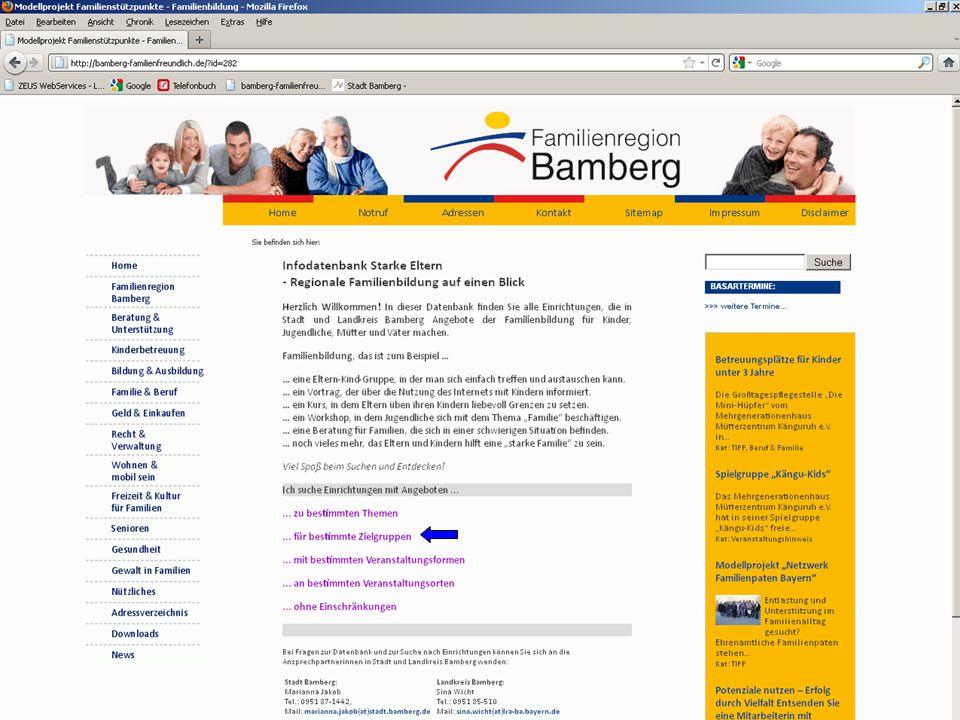 14 Modellprojekt Familienbildung – Familienstützpunkte 2.Infodatenbank Starke Familien