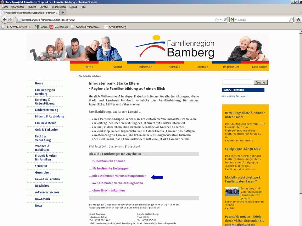 16 Modellprojekt Familienbildung – Familienstützpunkte 2.Infodatenbank Starke Familien