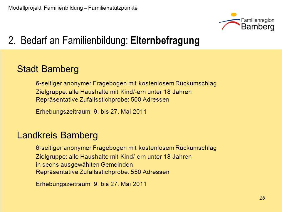 26 Modellprojekt Familienbildung – Familienstützpunkte 2.