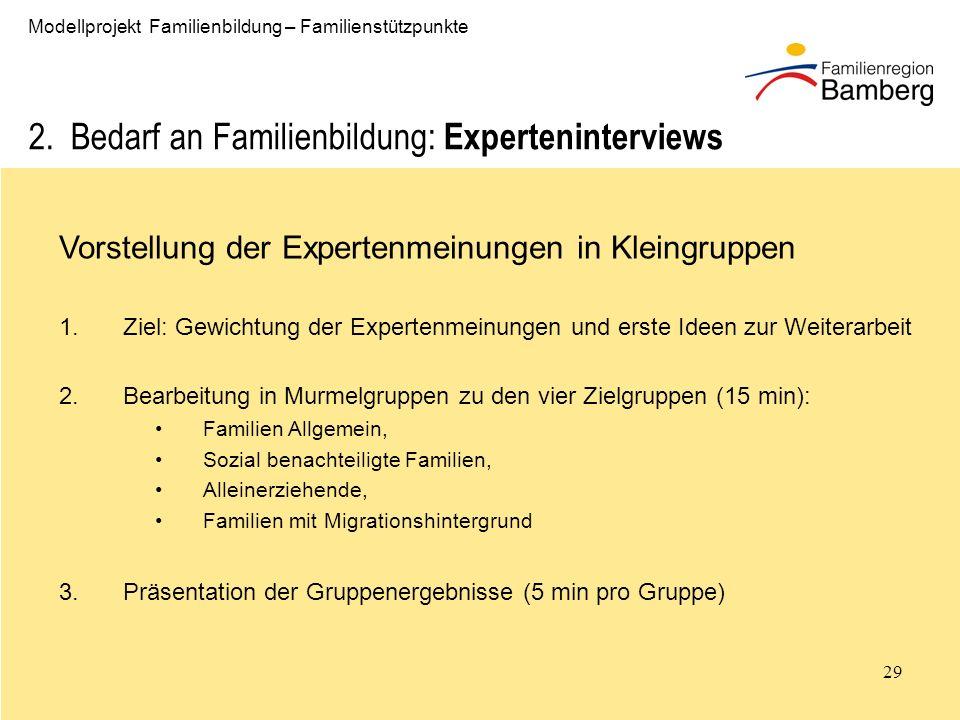 29 Modellprojekt Familienbildung – Familienstützpunkte 2.