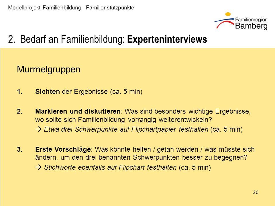 30 Modellprojekt Familienbildung – Familienstützpunkte 2.