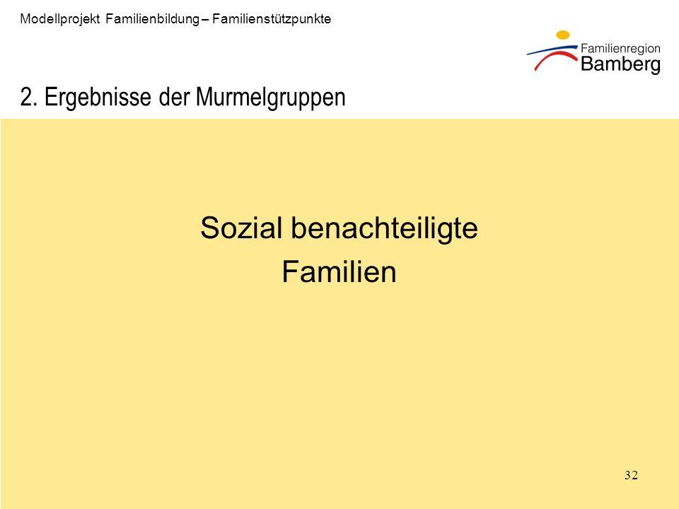 32 Modellprojekt Familienbildung – Familienstützpunkte 2.