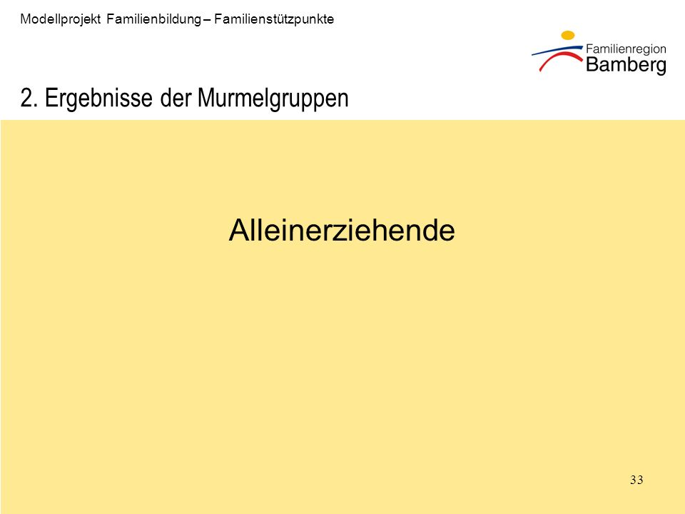 33 Modellprojekt Familienbildung – Familienstützpunkte 2.