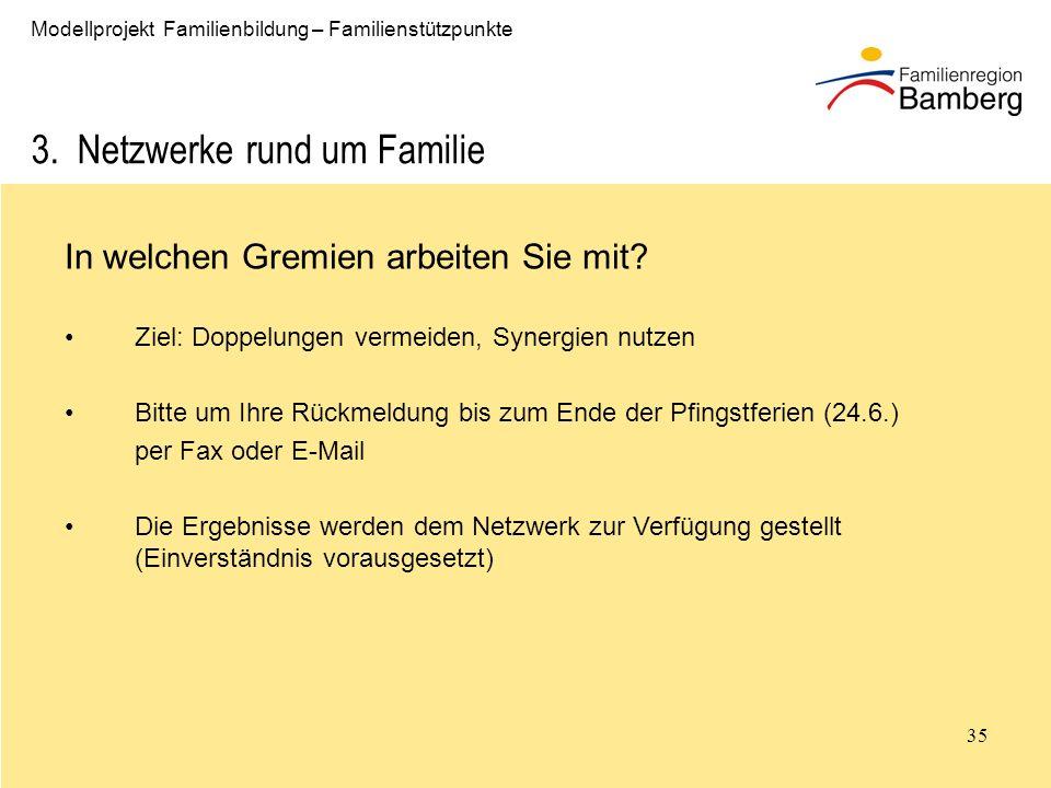 35 Modellprojekt Familienbildung – Familienstützpunkte 3.