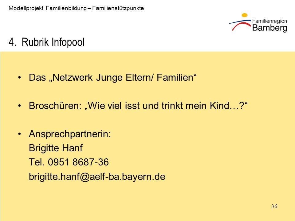 36 Modellprojekt Familienbildung – Familienstützpunkte 4.