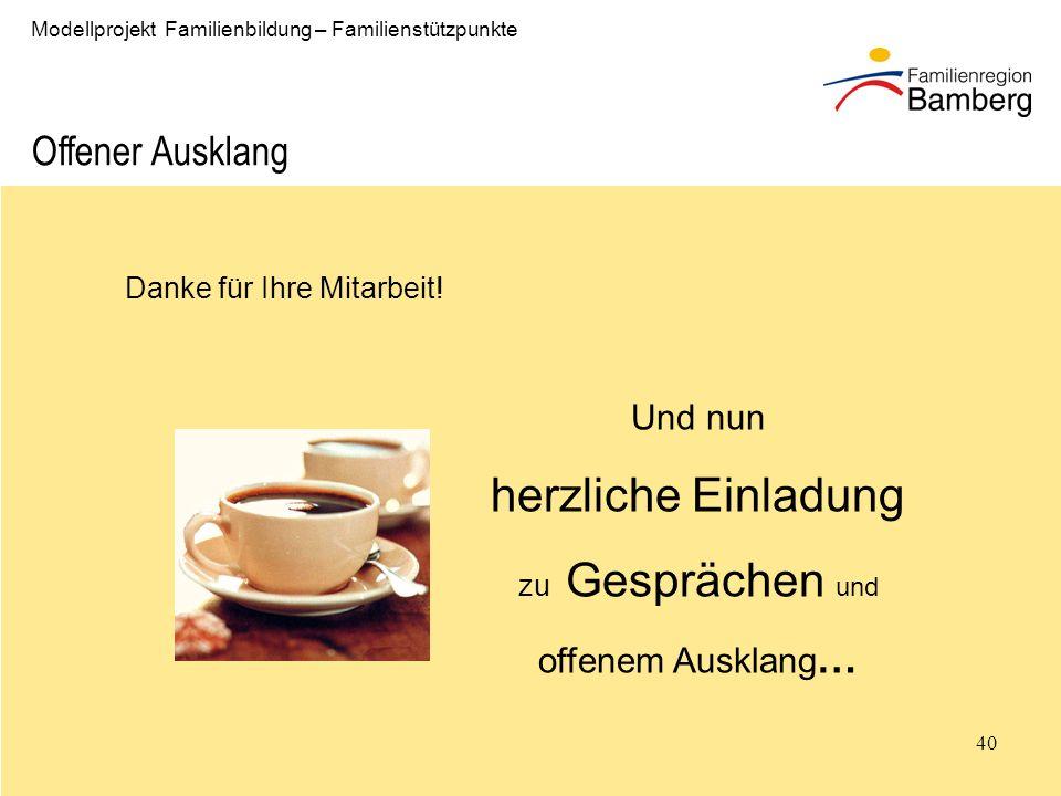 40 Modellprojekt Familienbildung – Familienstützpunkte Danke für Ihre Mitarbeit.