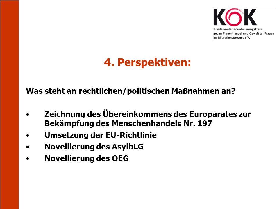 4. Perspektiven: Was steht an rechtlichen/politischen Maßnahmen an? Zeichnung des Übereinkommens des Europarates zur Bekämpfung des Menschenhandels Nr