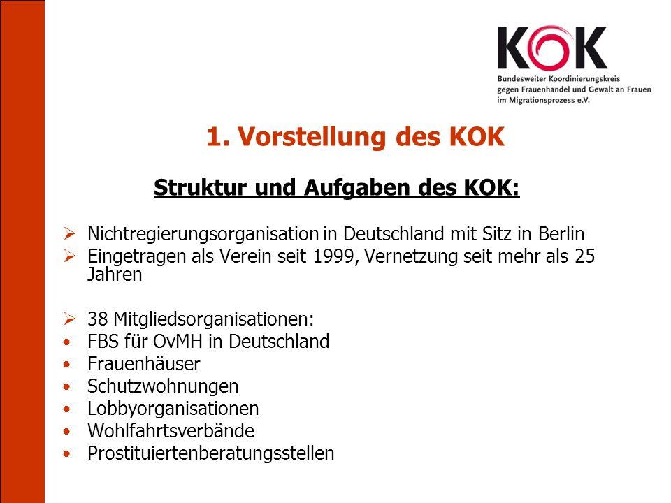 1. Vorstellung des KOK Struktur und Aufgaben des KOK: Nichtregierungsorganisation in Deutschland mit Sitz in Berlin Eingetragen als Verein seit 1999,
