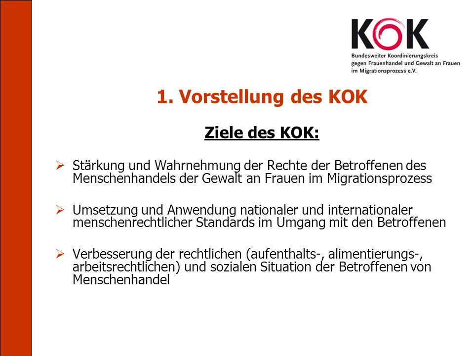 1. Vorstellung des KOK Ziele des KOK: Stärkung und Wahrnehmung der Rechte der Betroffenen des Menschenhandels der Gewalt an Frauen im Migrationsprozes