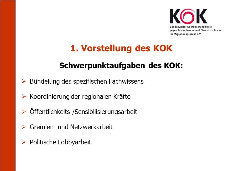 1. Vorstellung des KOK Schwerpunktaufgaben des KOK: Bündelung des spezifischen Fachwissens Koordinierung der regionalen Kräfte Öffentlichkeits-/Sensib