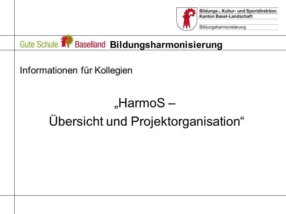 Bildungsharmonisierung Informationen für Kollegien HarmoS – Übersicht und Projektorganisation