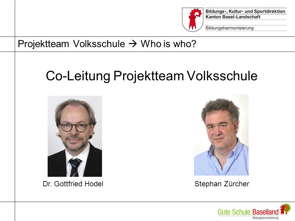Projektteam Volksschule Who is who.Co-Leitung Projektteam Volksschule Dr.