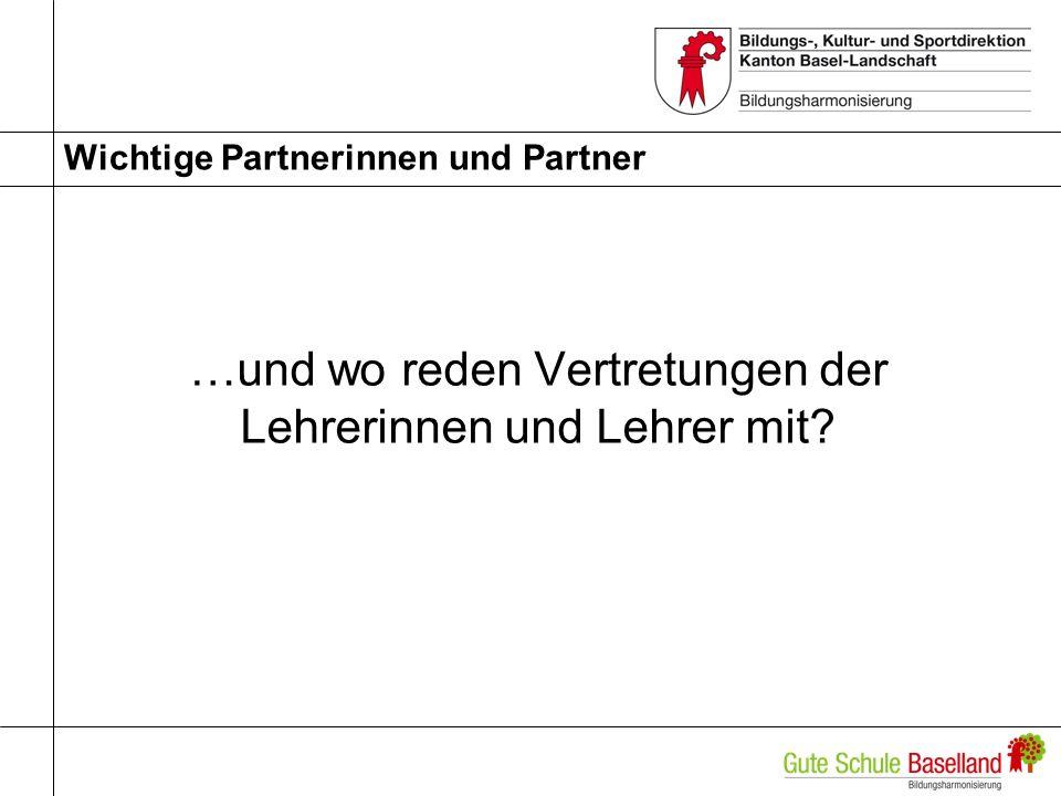 Wichtige Partnerinnen und Partner …und wo reden Vertretungen der Lehrerinnen und Lehrer mit?