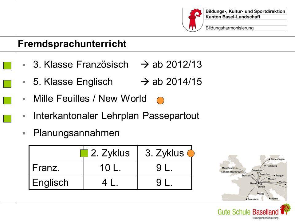 Fremdsprachunterricht 3.Klasse Französisch ab 2012/13 5.