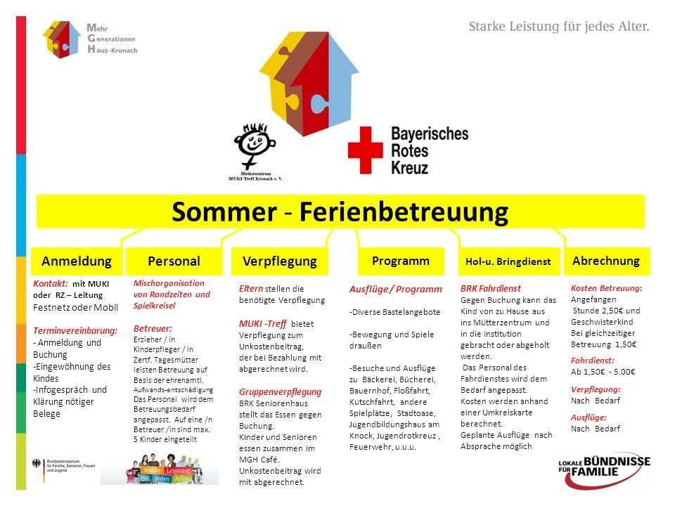 Sommer - Ferienbetreuung Anmeldung PersonalVerpflegung Hol-u.