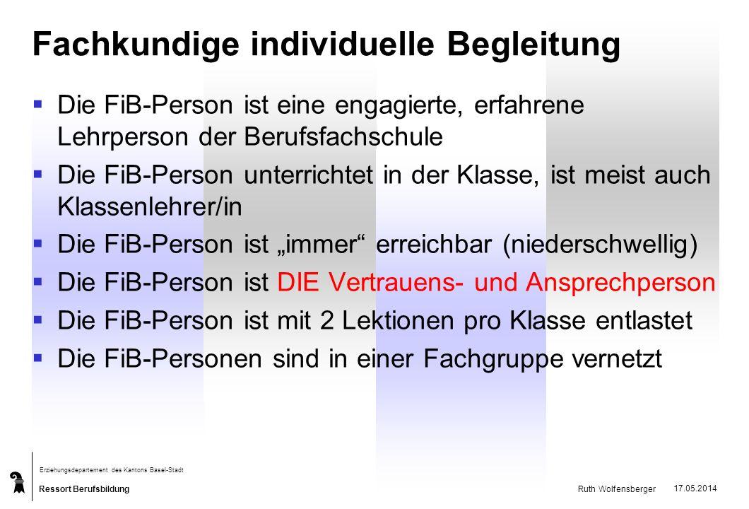 Ressort Berufsbildung Erziehungsdepartement des Kantons Basel-Stadt Ruth Wolfensberger 17.05.2014 Fachkundige individuelle Begleitung Die FiB-Person i