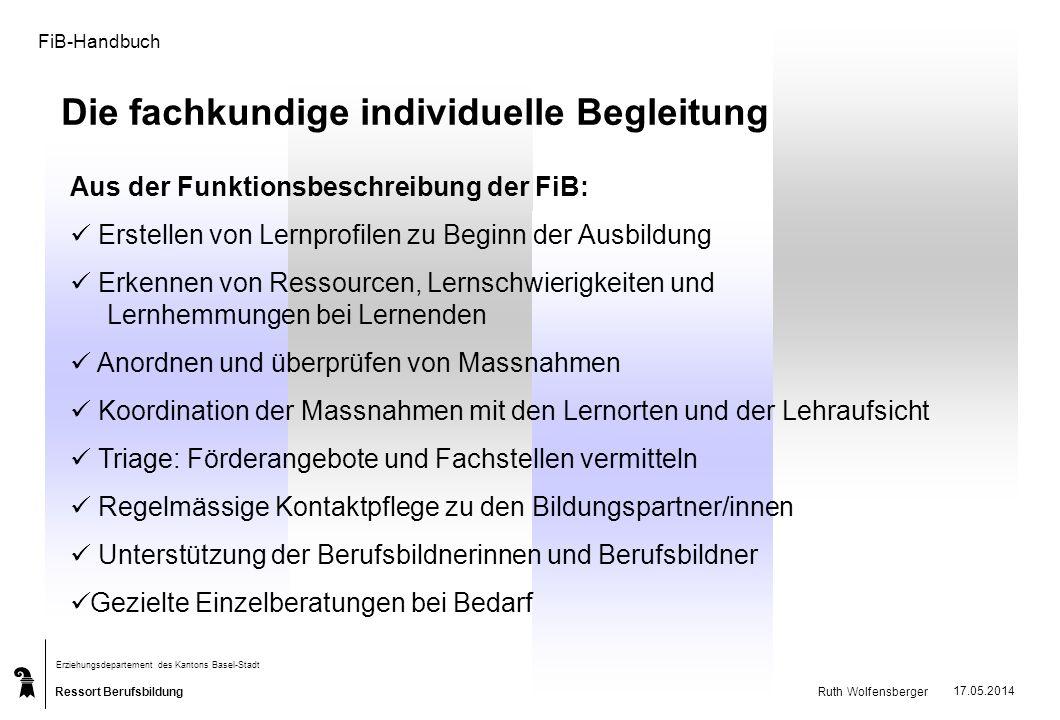 Ressort Berufsbildung Erziehungsdepartement des Kantons Basel-Stadt Ruth Wolfensberger 17.05.2014 FiB-Handbuch Die fachkundige individuelle Begleitung