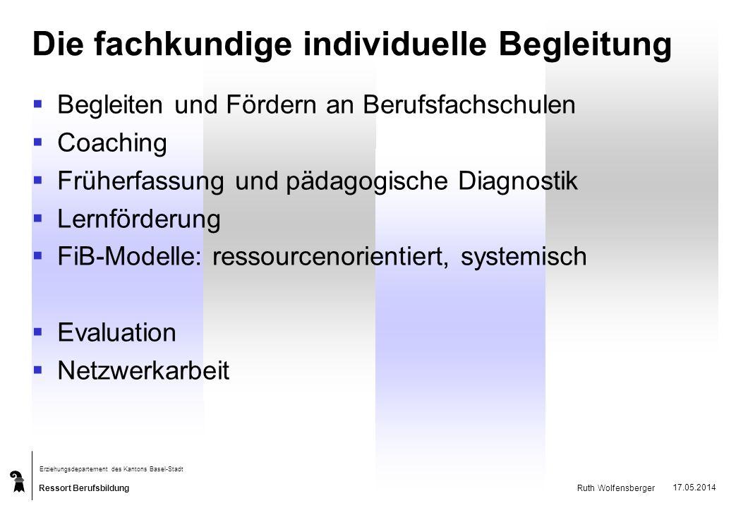 Ressort Berufsbildung Erziehungsdepartement des Kantons Basel-Stadt Ruth Wolfensberger 17.05.2014 Die fachkundige individuelle Begleitung Begleiten un