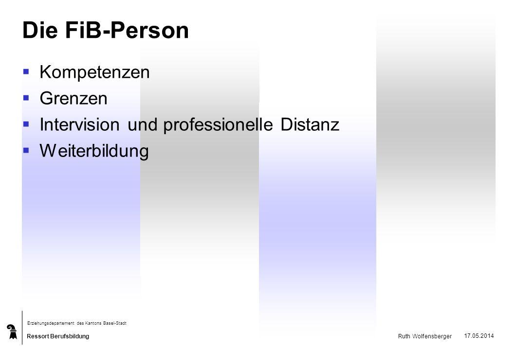 Ressort Berufsbildung Erziehungsdepartement des Kantons Basel-Stadt Ruth Wolfensberger 17.05.2014 Die FiB-Person Kompetenzen Grenzen Intervision und p