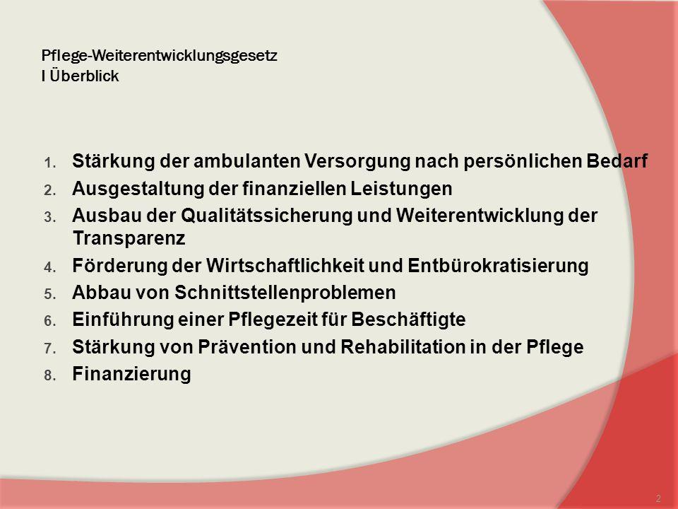 Pflege-Weiterentwicklungsgesetz I Überblick 1.