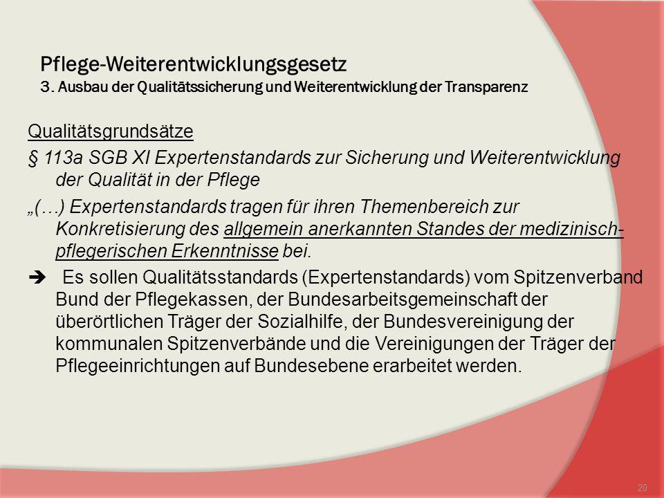 Pflege-Weiterentwicklungsgesetz 3. Ausbau der Qualitätssicherung und Weiterentwicklung der Transparenz Qualitätsgrundsätze § 113a SGB XI Expertenstand