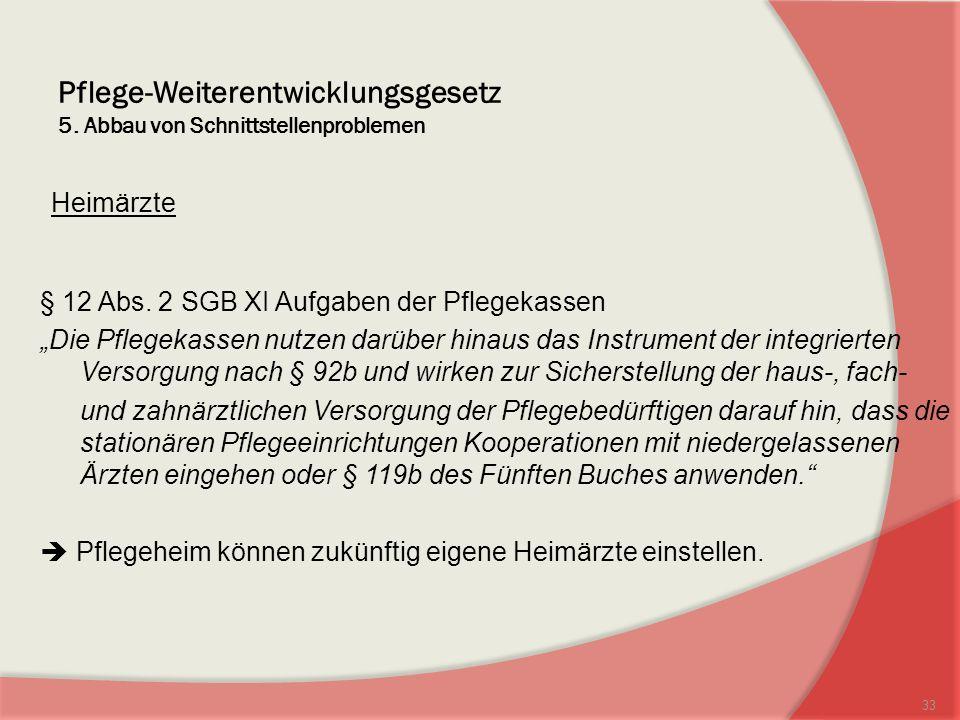 Pflege-Weiterentwicklungsgesetz 5.Abbau von Schnittstellenproblemen Heimärzte § 12 Abs.