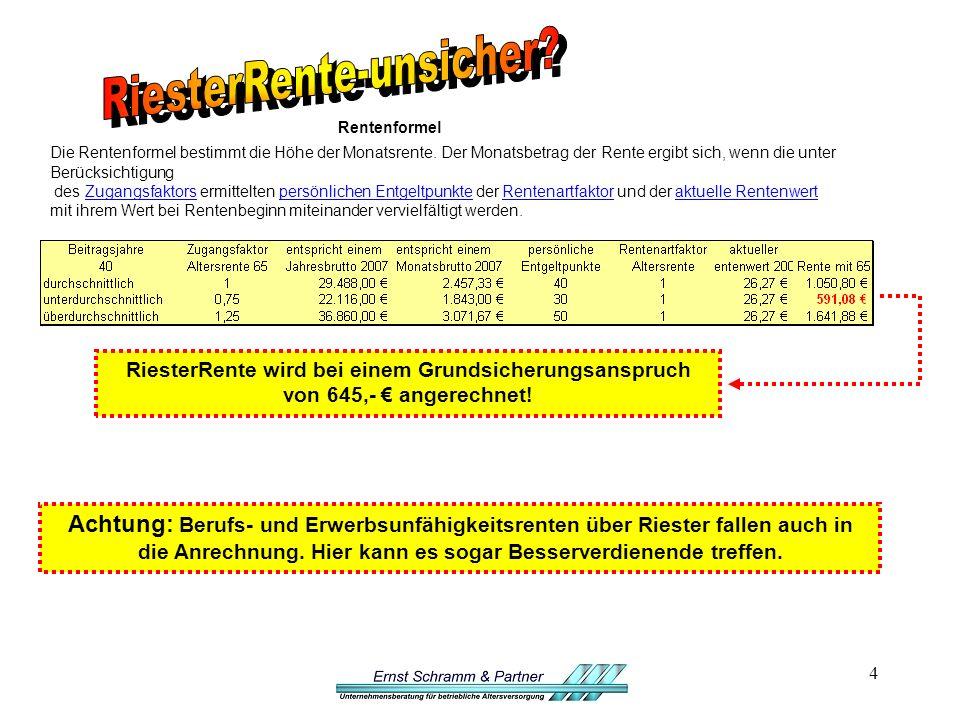 4 Rentenformel Die Rentenformel bestimmt die Höhe der Monatsrente.