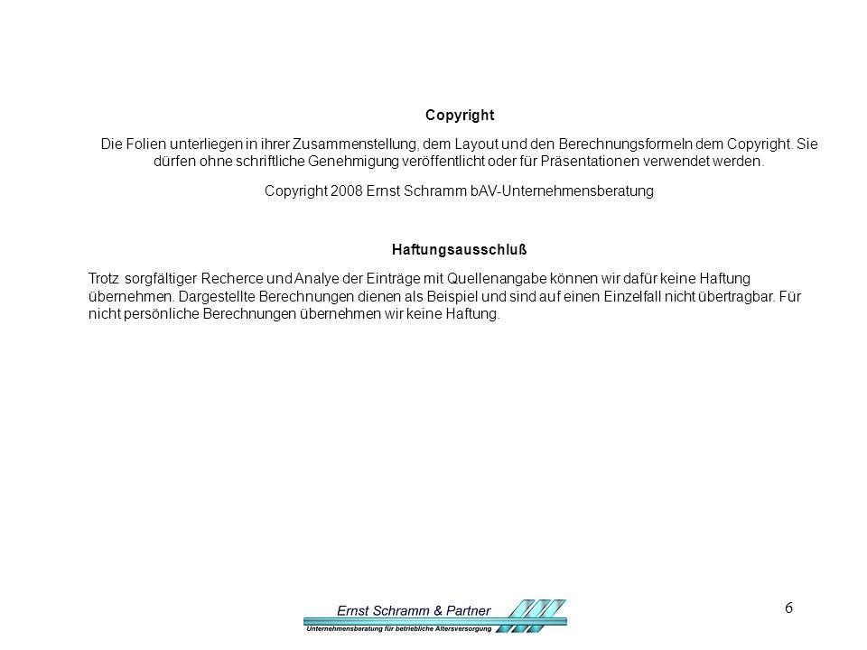 6 Copyright Die Folien unterliegen in ihrer Zusammenstellung, dem Layout und den Berechnungsformeln dem Copyright.