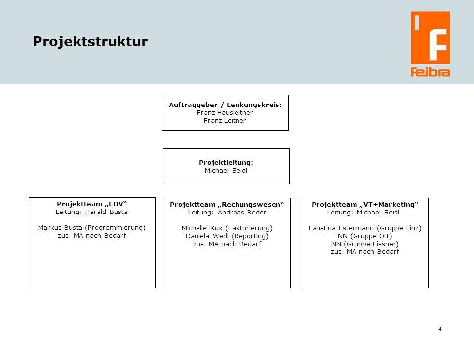 4 Projektstruktur Auftraggeber / Lenkungskreis: Franz Hausleitner Franz Leitner Projektleitung: Michael Seidl Projektteam Rechungswesen Leitung: Andre