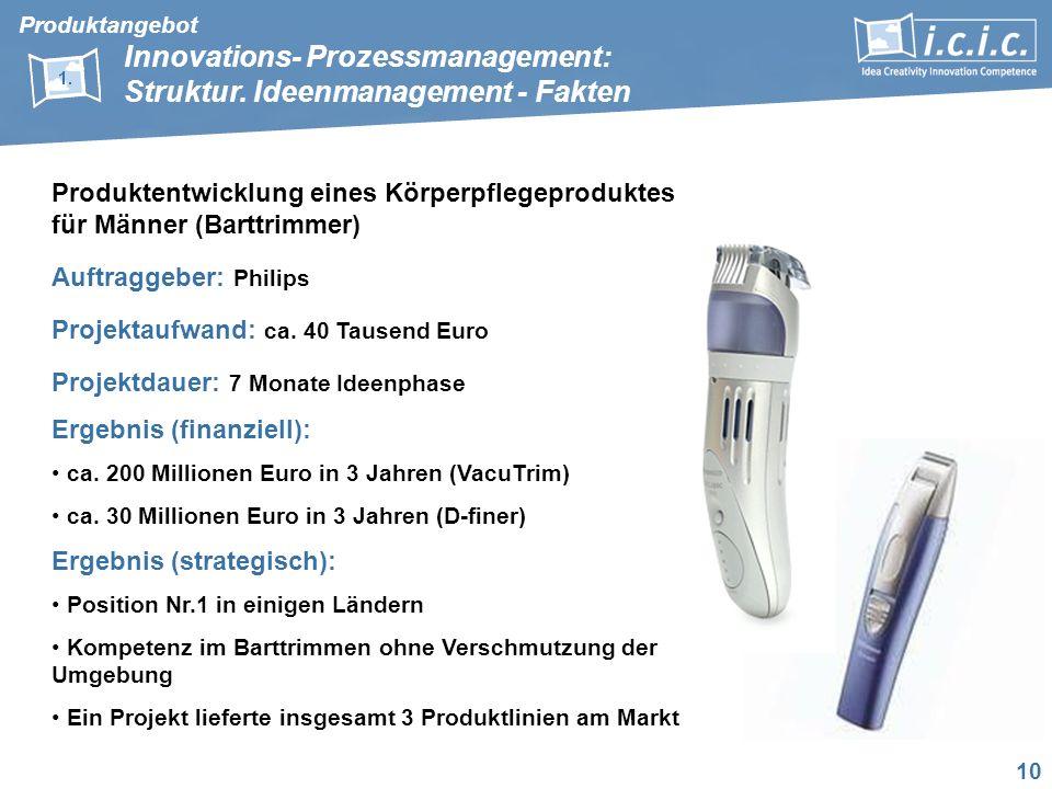10 Produktentwicklung eines Körperpflegeproduktes für Männer (Barttrimmer) Auftraggeber: Philips Projektaufwand: ca. 40 Tausend Euro Projektdauer: 7 M