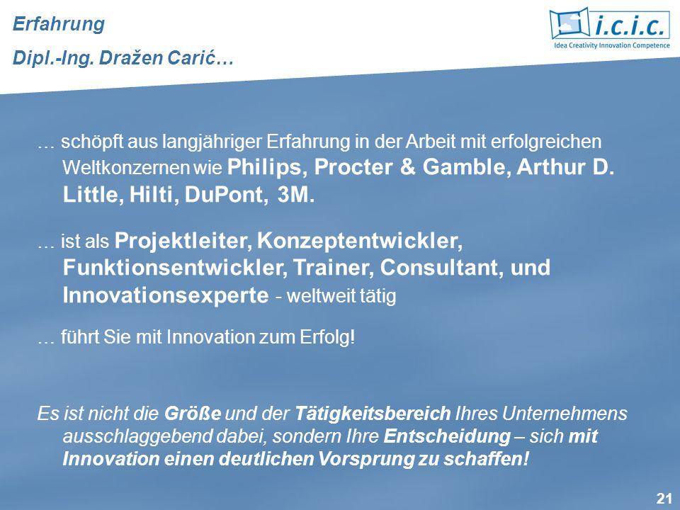 21 … schöpft aus langjähriger Erfahrung in der Arbeit mit erfolgreichen Weltkonzernen wie Philips, Procter & Gamble, Arthur D. Little, Hilti, DuPont,