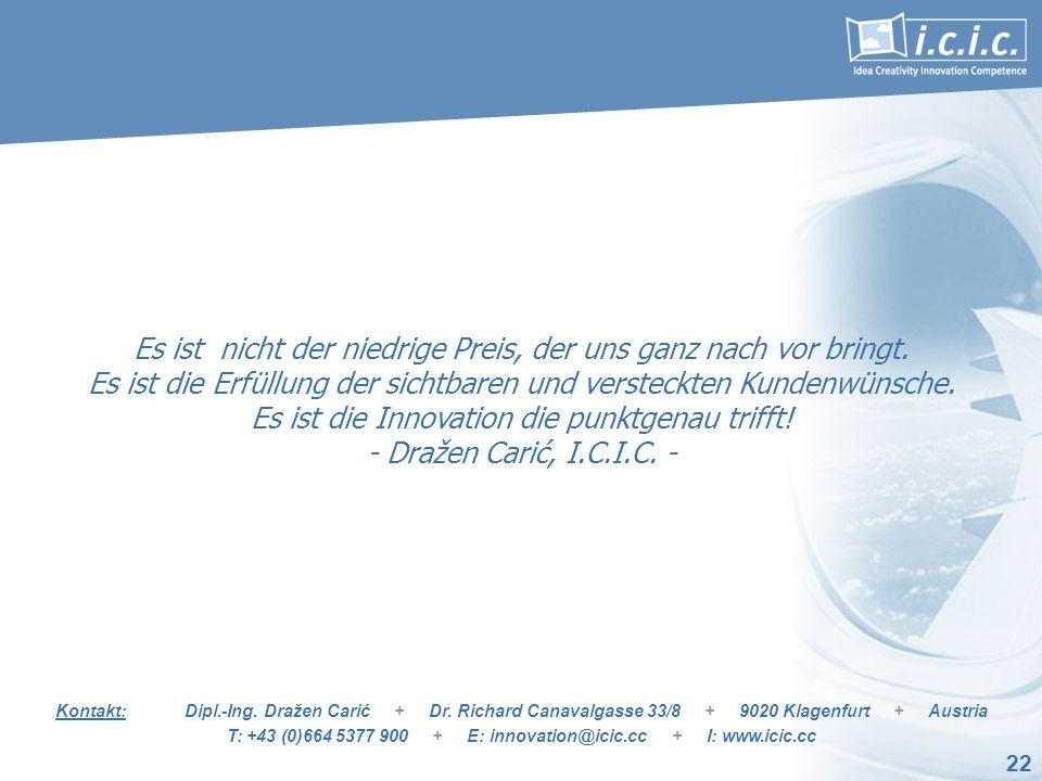 22 Kontakt: Dipl.-Ing. Dražen Carić + Dr. Richard Canavalgasse 33/8 + 9020 Klagenfurt + Austria T: +43 (0)664 5377 900 + E: innovation@icic.cc + I: ww