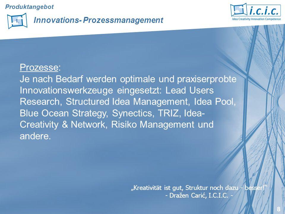 8 Prozesse: Je nach Bedarf werden optimale und praxiserprobte Innovationswerkzeuge eingesetzt: Lead Users Research, Structured Idea Management, Idea Pool, Blue Ocean Strategy, Synectics, TRIZ, Idea- Creativity & Network, Risiko Management und andere.