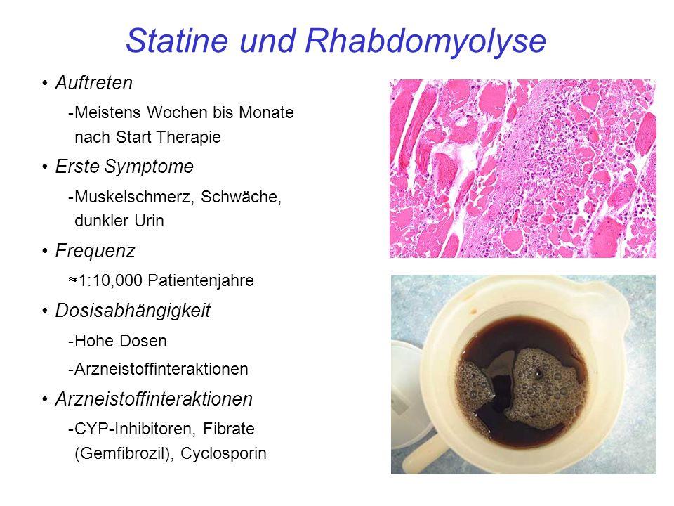 Statine und Rhabdomyolyse Auftreten -Meistens Wochen bis Monate nach Start Therapie Erste Symptome -Muskelschmerz, Schwäche, dunkler Urin Frequenz 1:10,000 Patientenjahre Dosisabhängigkeit -Hohe Dosen -Arzneistoffinteraktionen Arzneistoffinteraktionen -CYP-Inhibitoren, Fibrate (Gemfibrozil), Cyclosporin